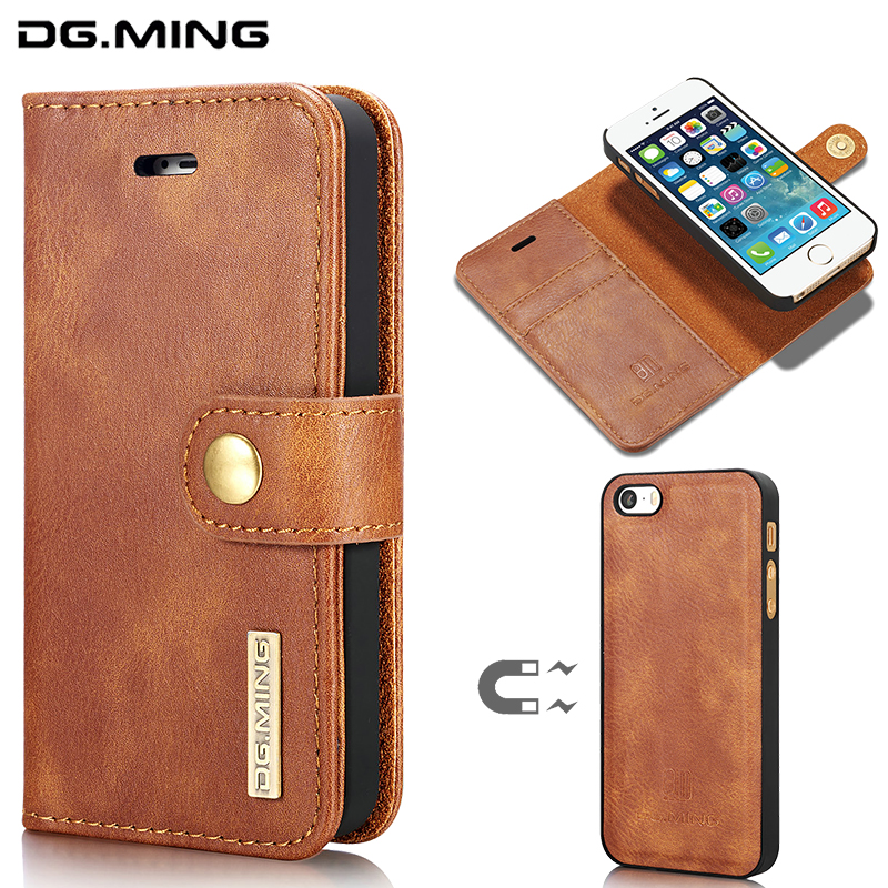 DG. ming для iPhone 5 5S SE бренд съемный чехол кожаный бумажник Магнитный 2 в 1 Coque capinha для iPhone5 5 S 5SE