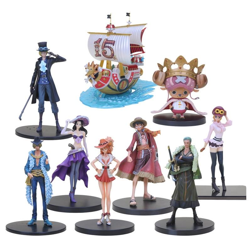 Anime One Piece Figure 15th Edition Thousand Sunny Pirate Ship DXF Grandline Sabo Nami Sanji Zoro Luffy Action Figure Model Toys