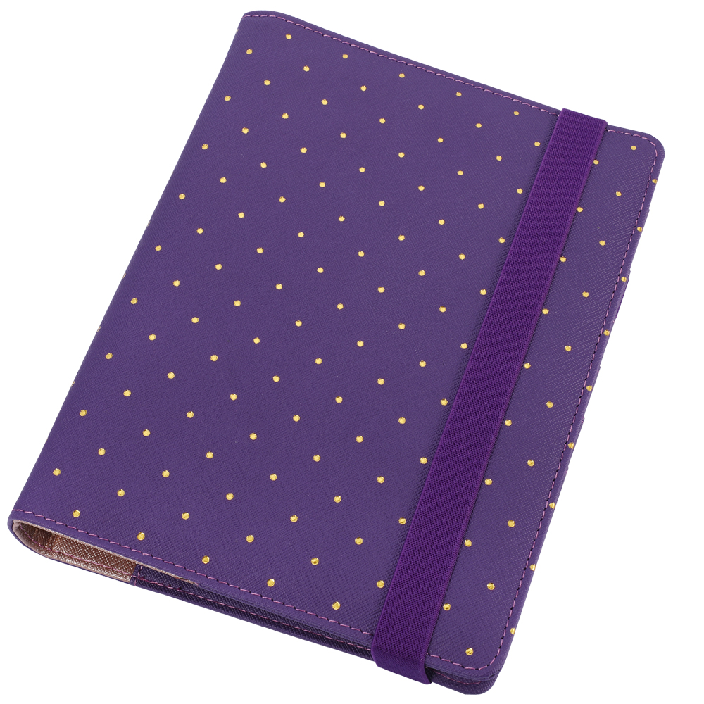 A5 A6 Polka Dot Planner Purple Travel Journal Spiral Binder Loose Leaf planner Strap Notebook Notepad with Free Gift Harphia a5 b5 genuine leather business strap notebook spiral loose leaf planner organize diary notebooks luxury gift notepad with rings