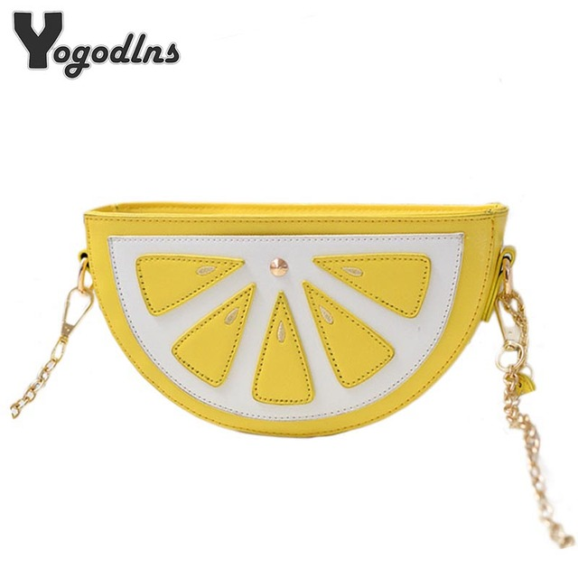 Fashion Women bags fruit handbags watermelon orange bag pocket lemon shoulder bags cartoon crossbody bags