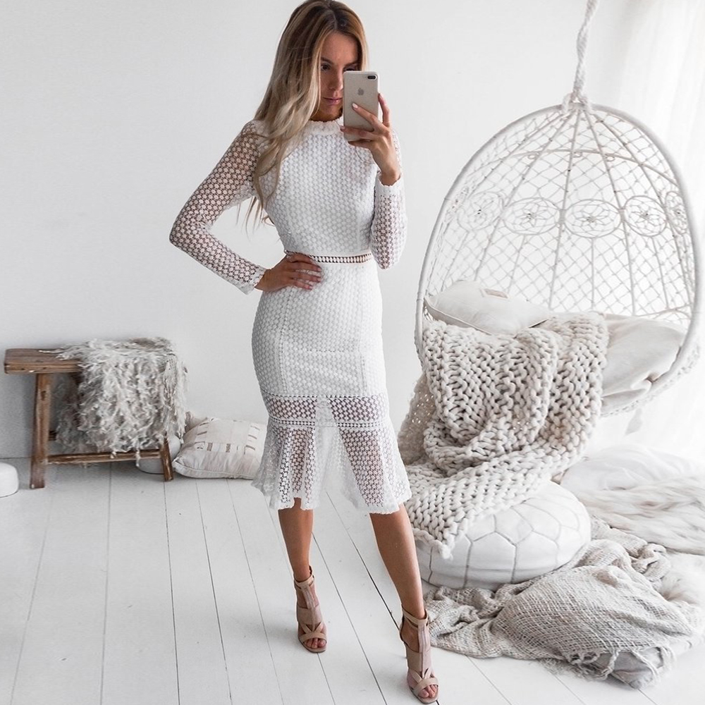 beccedc47b6ed Worldwide delivery white lace dress long sleeve in NaBaRa Online
