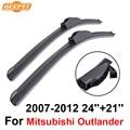 "Qeepei wiper blades para mitsubishi outlander 2007-2012 24 ""+ 21"" de alta qualidade iso9001 borracha natural limpo brisa dianteiro f03"