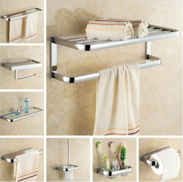 Free shipping,solid brass Bathroom Accessories Set, Chrome Robe hook,Paper Holder,Towel Bar,Soap basket,Towel Rack bathroom set free shipping solid brass bathroom accessories set robe hook paper holder towel bar soap basket bathroom sets yt 10600 5