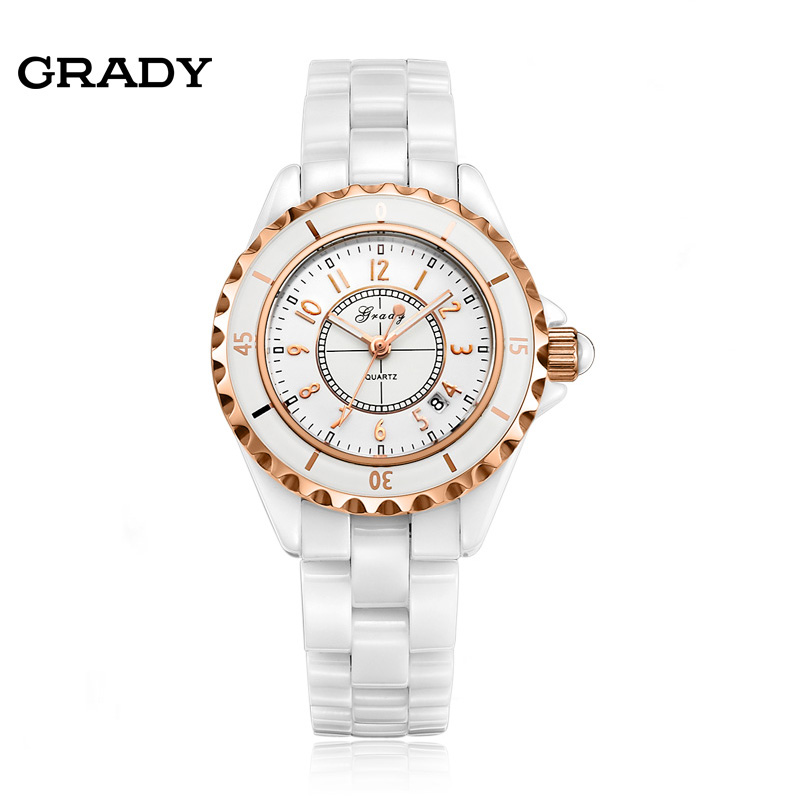 Grady Fashion Genuine Ceramic Watch Rotatable Bezel Watches Men and Women Platinum Plate Quartz Watch Free