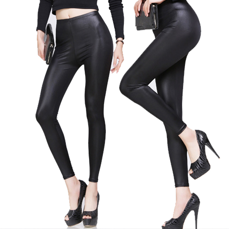 New Fashion Women Nylon   Leggings   High Waist Stretch Skinny Shiny Pants Slim Fit   Legging   Autumn Trousers QL Sale