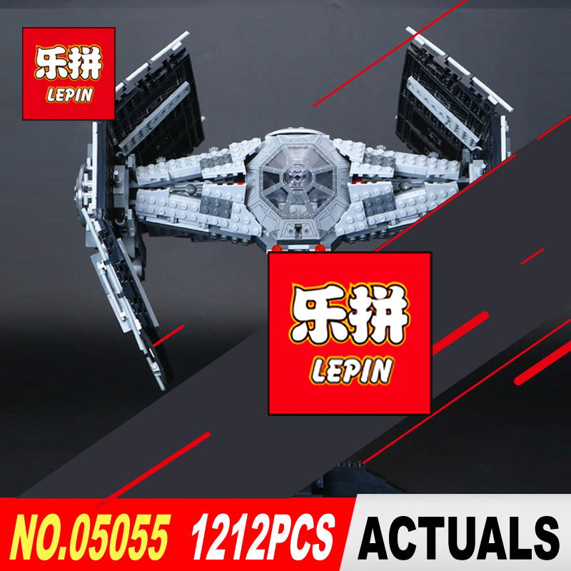 LEPIN 05055 Star 1212Pcs Wars Vader TIE advanced fighter aircraft Model Building Blocks Bricks toy Compatible to Children Toys 2017 new 1242pcs 05055 lepin star wars vader s tie advanced fighter model building kit figures blocks brick toy compatible 10175
