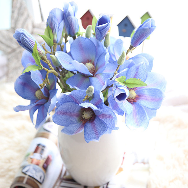 Online shop artificial flowers diy silk decorative flowers fake artificial flowers diy silk decorative flowers fake flower magnolia bouquet fleur artificielle home wedding decoration 1pcslot mightylinksfo Choice Image