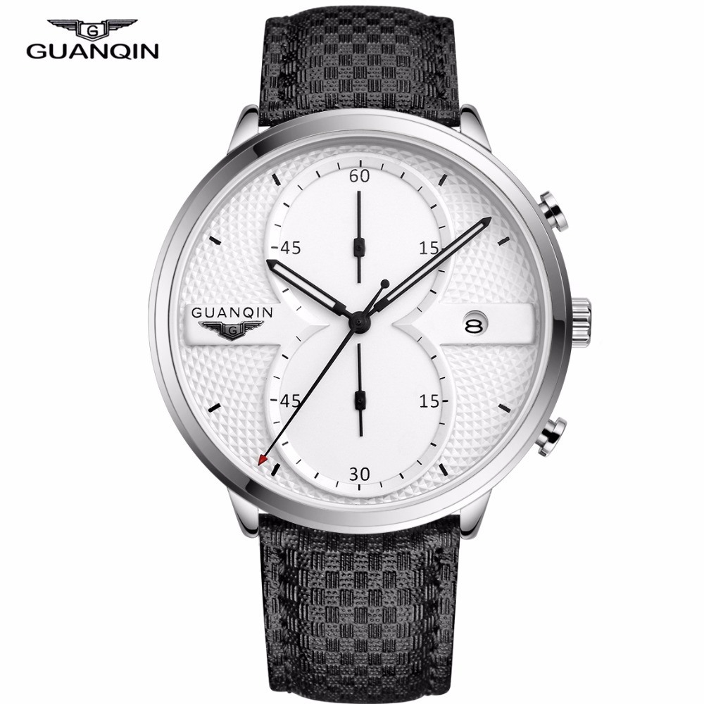 Relogio Masculino GUANQIN Mens Business Watches Top Brand Luxury Chronograph Leather Sport Quartz Wrist Watch Men Clock Male 2018 new balance nb574 574 ms574 men s shoes women breathable sneakers badminton shoes size 36 40 women12