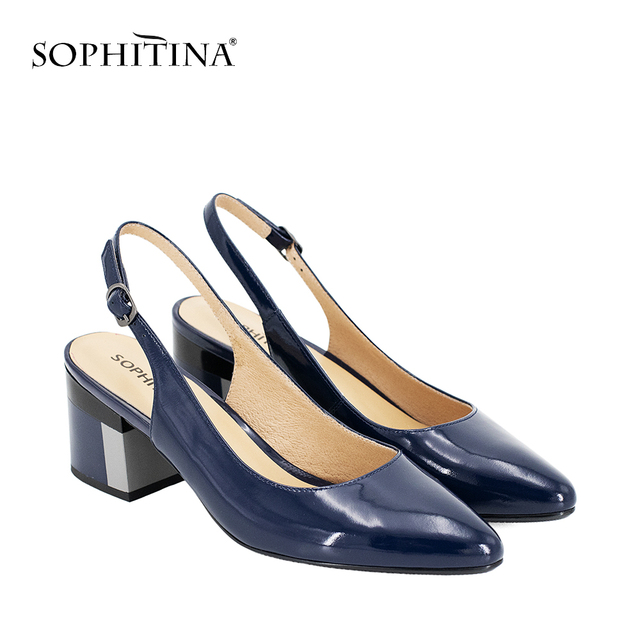 SOPHITINA Shoes Patent Leather Sexy Party Lady Sandals Pointed Toe Pumps Colorful Square Heel Buckle Strap Classics Shoes S23