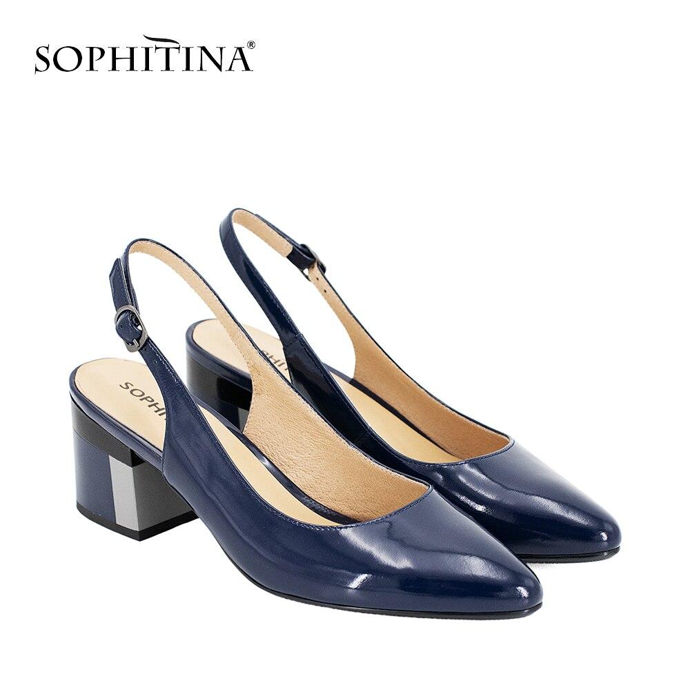 460bad1b SOPHITINA zapatos de charol de cuero de fiesta Sexy sandalias de señora  punta bombas de tacón cuadrado Correa hebilla clásicos zapatos S23