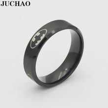 JUCHAO Classic Boys Girls 6mm Stainless Steel Black Batman Rings for Men Women 2019 Gold Silver Black Jewellery Size 6-13(China)