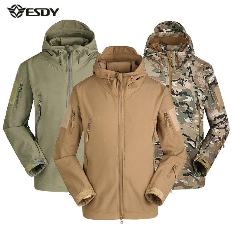 Men Winter Heated Fleece Jacket Waterproof Softshell Outdoor Sport Coat Camping Trekking Skiing male Camouflage Tactical