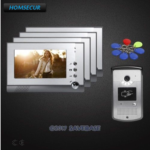 HOMSECUR 1V4 7 Color Video Door Entry Call System with IR Night Vision for Home Security