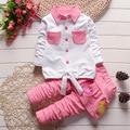 Baby Girl Одежда Хлопчатобумажную Рубашку и Брюки Набор Комплект Одежды Младенца Новорожденных Девочек Одежда 0-24 Месяцев Наборы