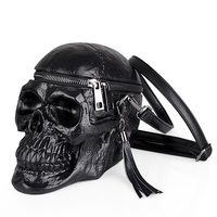 New Black Skeleton 3D Skull Head Retro Men Mini Women Messenger Bag Handbag Nightclub Tassel Lady Shoulder Crossbody Bag Package