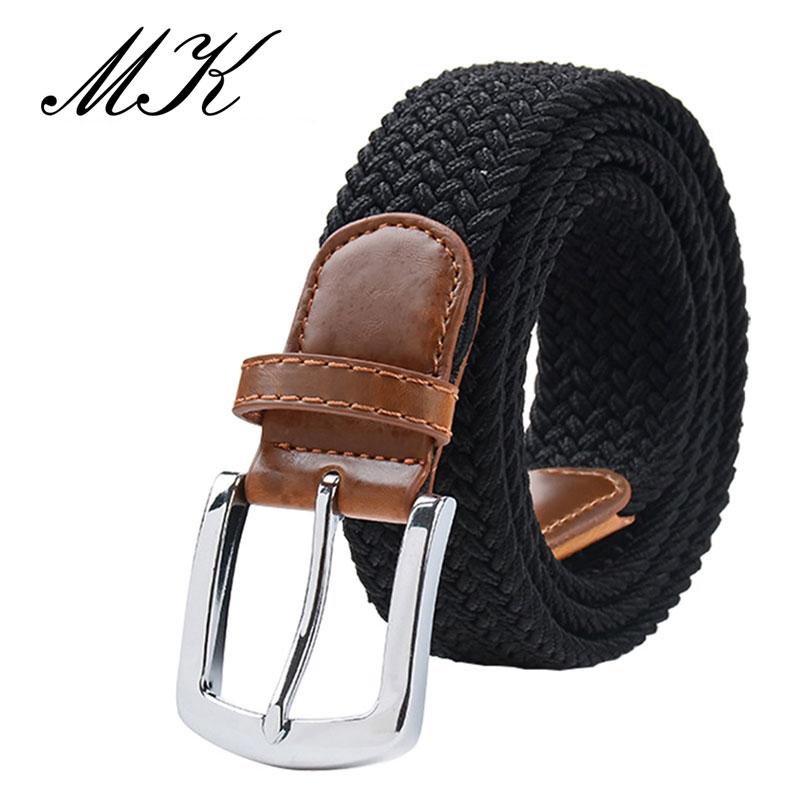 MaiKun мужские ремни с металлической пряжкой булавки эластичный мужской ремень армейский тактический ремень для мужчин - Цвет: Black