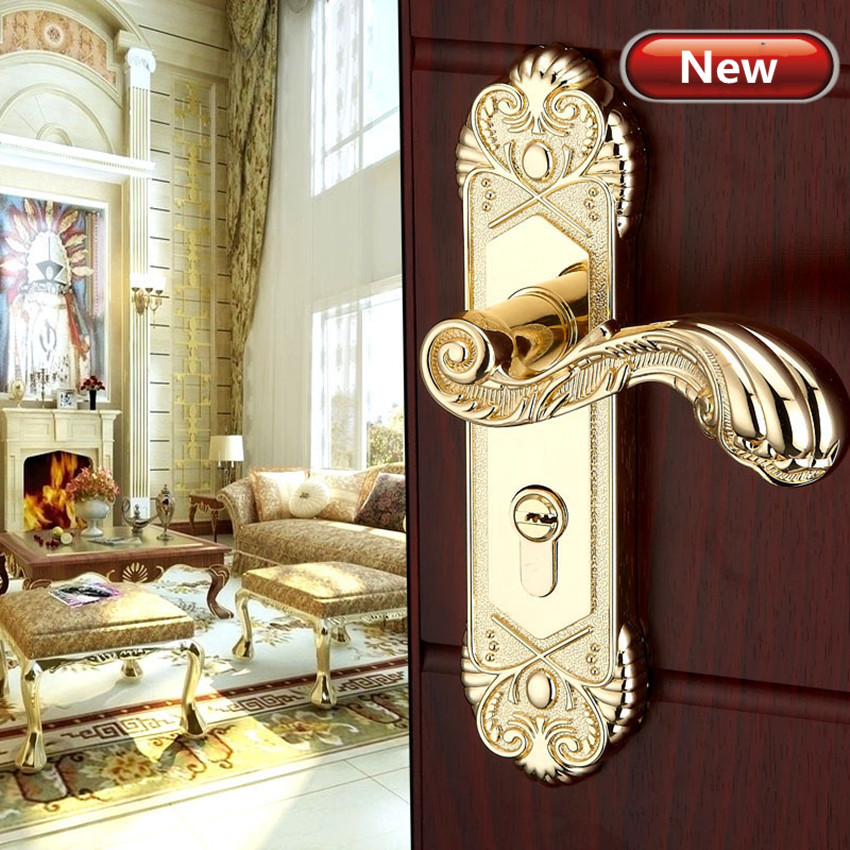 Modern  fashion stain gold Interior solid wood panel handle lock brushed gold  bedroom bookroom kitchen wooden door lock fashion deluxe gold double sided handle lock yellow bronze bedroom kitchen bookroom wooden door lock vintage mute the door lock