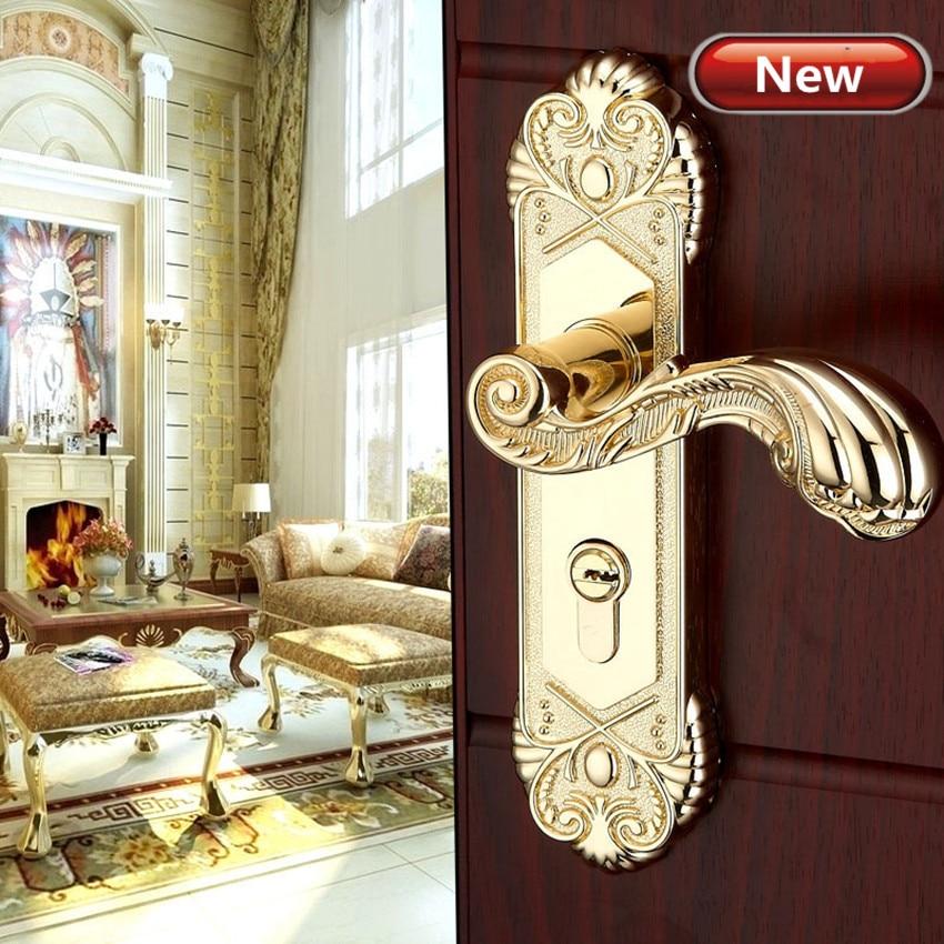 Modern  fashion stain gold Interior solid wood panel handle lock brushed gold  bedroom bookroom kitchen wooden door lock цена