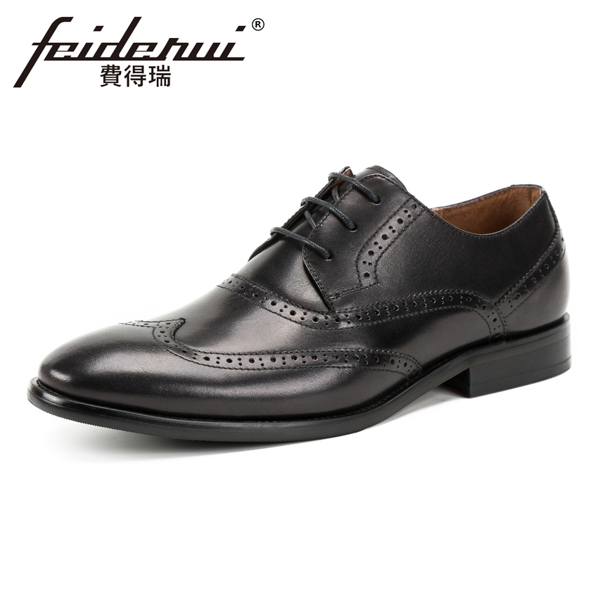Luxury Genuine Leather Men's Wingtip Footwear Pointed Toe Lace-up Carved Man Formal Dress Banquet Handmade Brogue Shoes KUD109 цена и фото