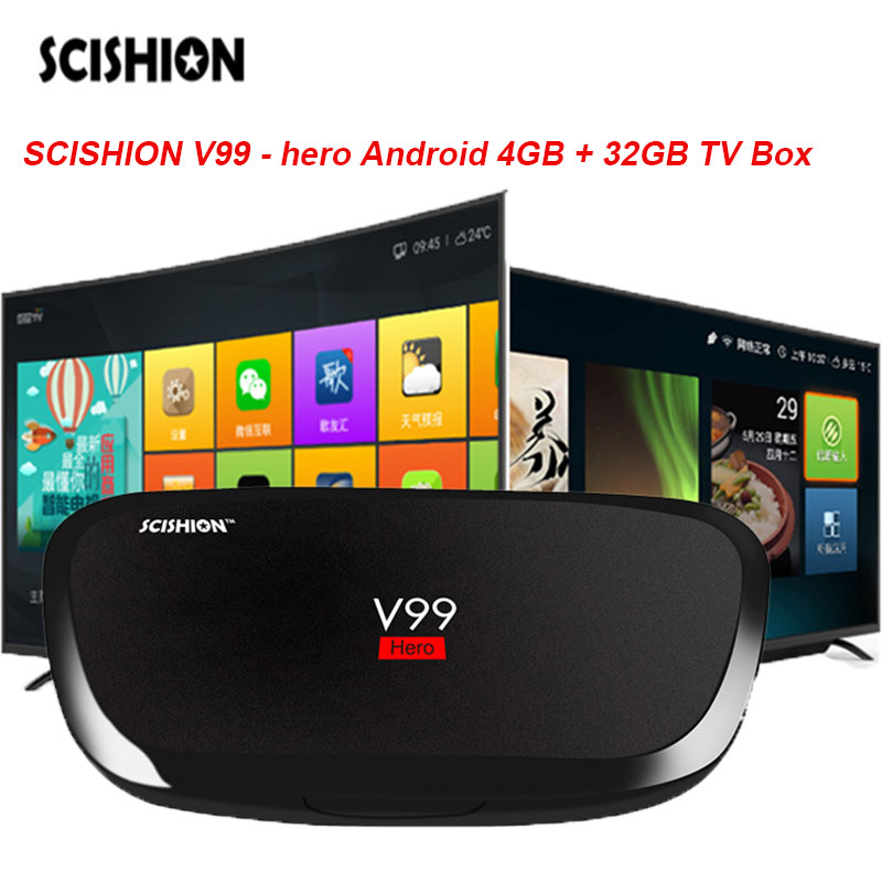 SCISHION V99-Hero Android5.1 H.265 4 GB + 32 GB TV boîte Octa-Core H.265 4 K Mini PC Bluetooth4.0 Multi-Langue Smart Media lecteur