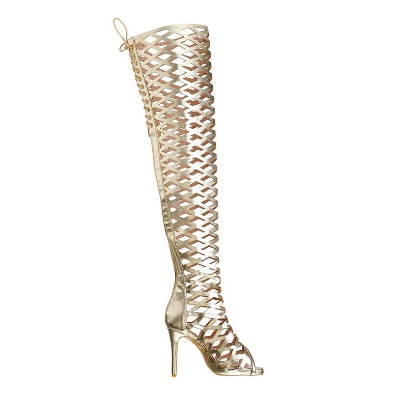 A-BUYBEA Sexy Women Over-The-Knee High Heel Summer Boots Gold Gladiator Hollow Zipper Peep Toe Fashion Nightclub Street Sandals