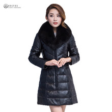Detachable Fur Collar Overcoat Genuine Leather Coat Women Plus Size Sheepskin Down Outerwear Female Winter Leather Jacket OK1102(China)