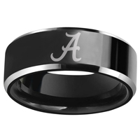 8mm Tungsten Wedding Ring Alabama Crimson Tide Die Vinyl Decal Design Black Satin Finish With Promise