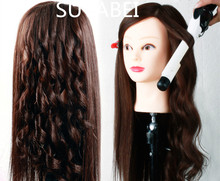 About 60cm hair length 85% natural women mannequin head heads doll
