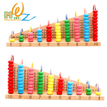 MWZ Beech Wooden Abacus Bead Counting Frame Calculation Arithmetical Frame Rack Abaci Calculatorb Math Toys