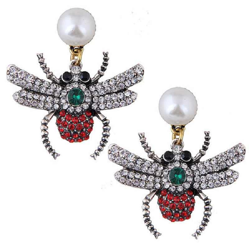 Nweest character spider earrings European and American hot style insect with glass stone bee earrings Halloween jewelry