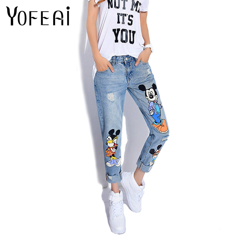 YOFEAI 2018 Jeans Women Casual Denim Ankle-Length Boyfriend Pants Women Print Pants Casual Harem Pants Female Plus Size 4XL 5XL