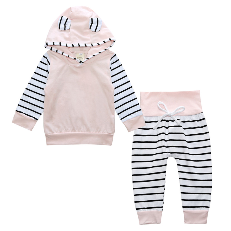 New 2017 Spring Baby Girls Clothes Sets Fashion Cotton Long Sleeve Hoodies + Trousers 2pcs Newborn Baby Boys Girls Clothing Sets цены онлайн