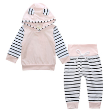 New 2017 Spring Baby Girls Clothes Sets Fashion Cotton Long Sleeve Hoodies + Trousers 2pcs Newborn Baby Boys Girls Clothing Sets