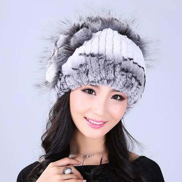 Women's Winter Hats Russian Hat With Natural Real Fur Female rabbit Fur Real Knitted Cap Pineapple Platter Fur Hat Women Beanies
