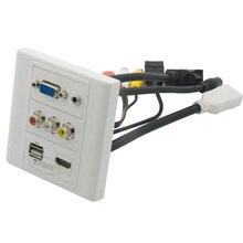 Vga, hdmi 3,5 мм аудио, USB, 3RCA AV настенная пластина с Женский до Женский 20 см короткий кабель Поддержка дизайна клиента
