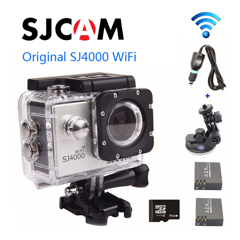 Free shipping!!Orignal 16GB + SJCAM SJ4000 Wifi Sport Helmet Dash Camera DVR + Car Charger+Car Holder + Extra 1pcs Battery 5pcs free shipping pcm1704 ic sop20 new and orignal