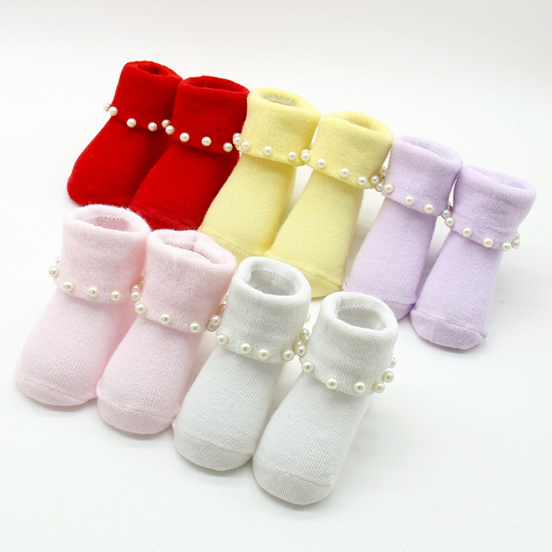 Princess Socks Infant Warm Spring Cute Newborn Baby Lovely Pearl Flower Ruffle Lace  Pure Cotton Colorful Socks