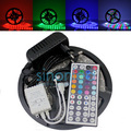 Free Shipping 5M SMD 3528 60 led/m 300 leds LED RGB  Light Strip Non Waterproof + 44Key IR LED RGB Controller+12V 2A Adapter