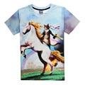 Botas Gato Unicornio Camiseta de Los Hombres 3D Impreso Rainbow Nueva Marca Camiseta Casual de las Camisetas de Verano Homme Wholesale Streetwear Camiseta