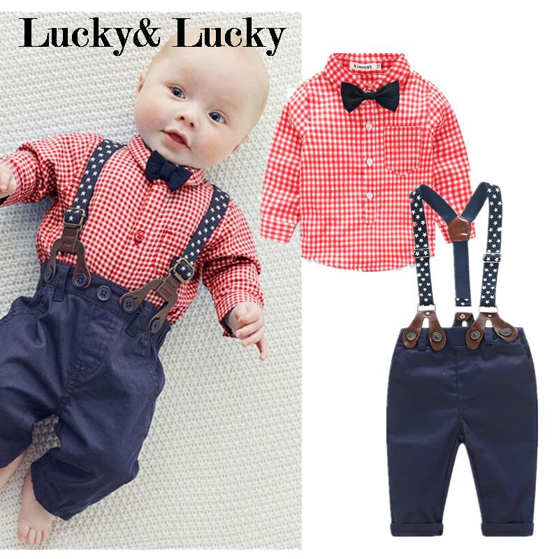 New baby boys clothes red plaid t-shirt+ overalls baby clothes with bow gentleman bebe clothesNew baby boys clothes red plaid t-shirt+ overalls baby clothes with bow gentleman bebe clothes