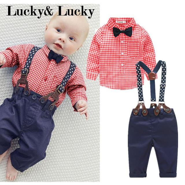 New baby boys clothes red plaid t-shirt+ overalls baby clothes with bow gentleman bebe clothes