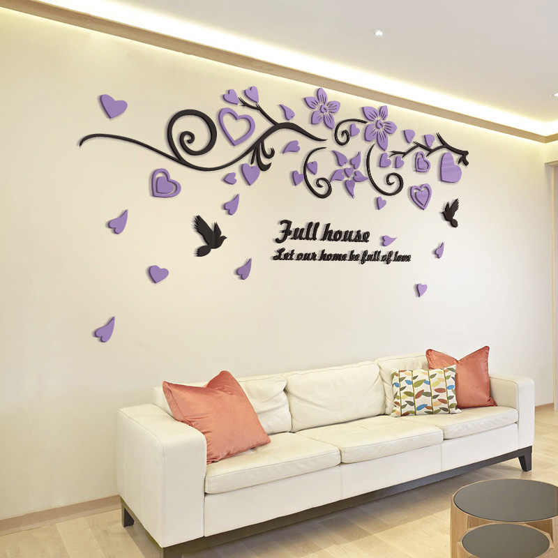 bbf785f3f2 ... 3D Bird Love Flower Vine Wall Decals Art TV Background Acrylic Mirror Wall  Stickers Decorations Living ...