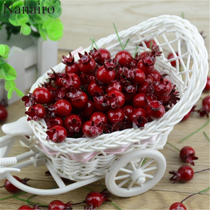 20 Pcs Mini Artificial Plastic Pomegranate Fruit Vegetable Small Cherry Bouquet Stamen Wedding Home Christmas Flower Decorative