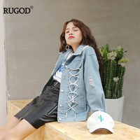 RUGOD Spring Autumn New Arrival BF Harajuku Style Streetwear Demin Jacket Women Handsome Hole All purpose Bat Sleeved Jacket