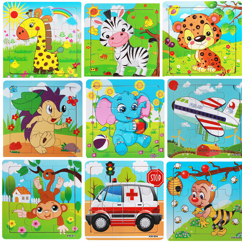 Kids Preschool Toys 9pcs Wooden Animals Jigsaw Toys Children Funny Educational Games Puz ...
