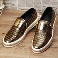 Oficina de estilo europeo hombres moda zapatos de cuero genuinos de la boda slip on pisos oxfords zapatos adolescentes holgazanes zapatos de plataforma masculina