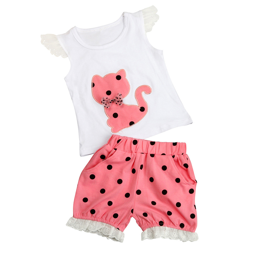 CHAMSGEND Summer Baby Girls Clothing Set Children Bow Cat Shirt+Shorts Clothes Set Suit P30 baby clothes july5