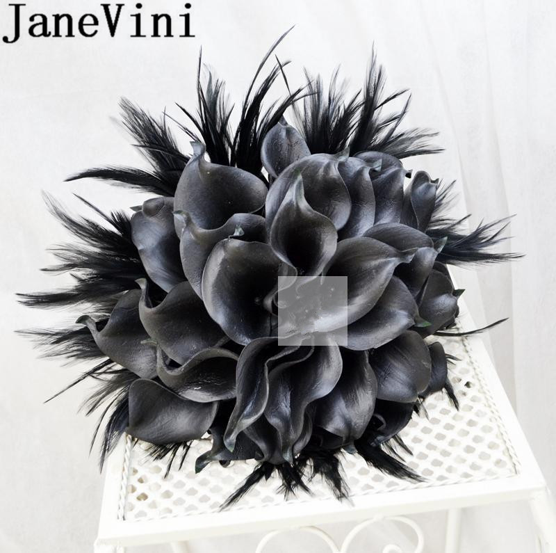 JaneVini Black Bride Flowers With Feathers 2019 Artificial Calla Lily Vintage Wedding Brooch Bridal Bouquets Groom Boutonniere