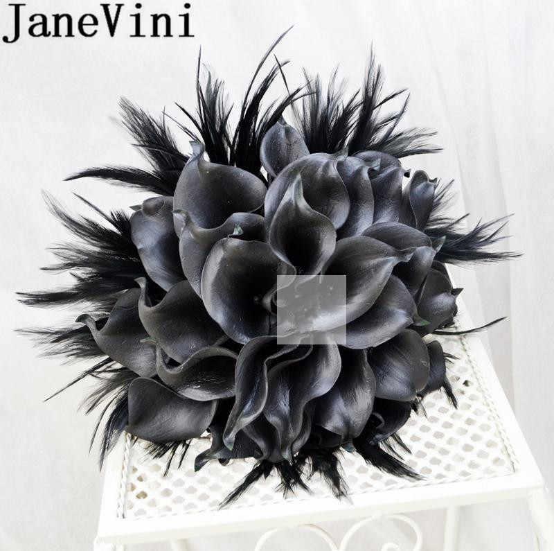 JaneVini Nero Fiori Sposa Con Piume 2019 Calla Artificiale Giglio D'epoca Da Sposa Spilla Bouquet Da Sposa Sposo Fiore All'occhiello