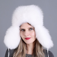 Women Real Fox Fur Autumn Winter Warm Thick Cap Earflap Snow Adjustable Natural Bomber Hat Trapper Skiing